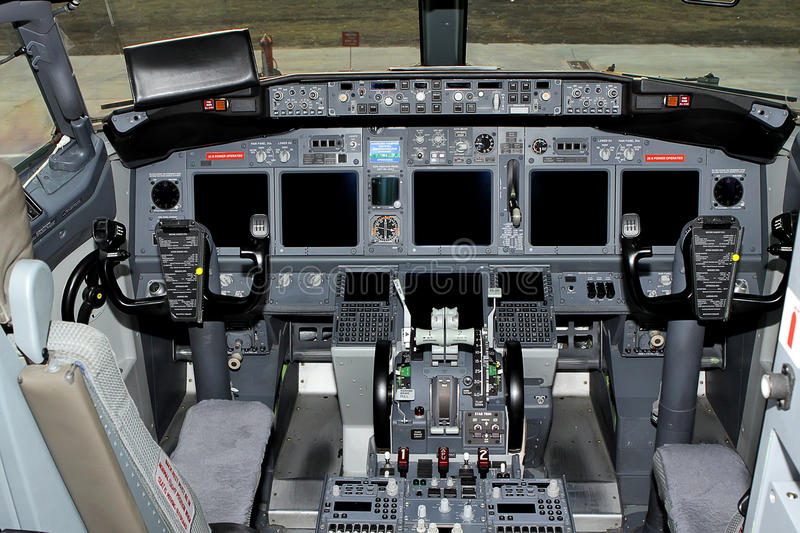 Cockpit passenger plane. The steering wheel control of the aircraft. Aero. View from the cockpit royalty free stock photos