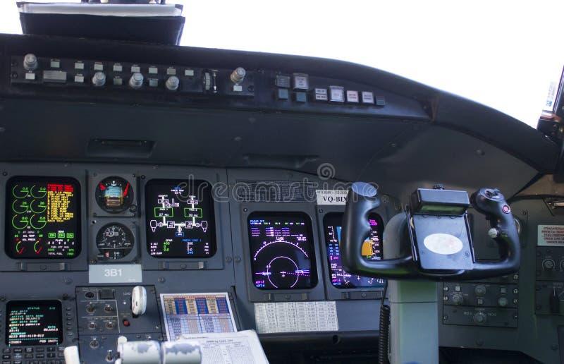 Cockpit passenger plane. The steering wheel stock photography