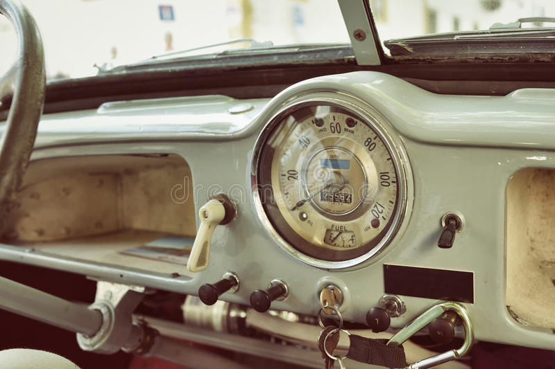 Cockpit of the retro car royalty free stock photography