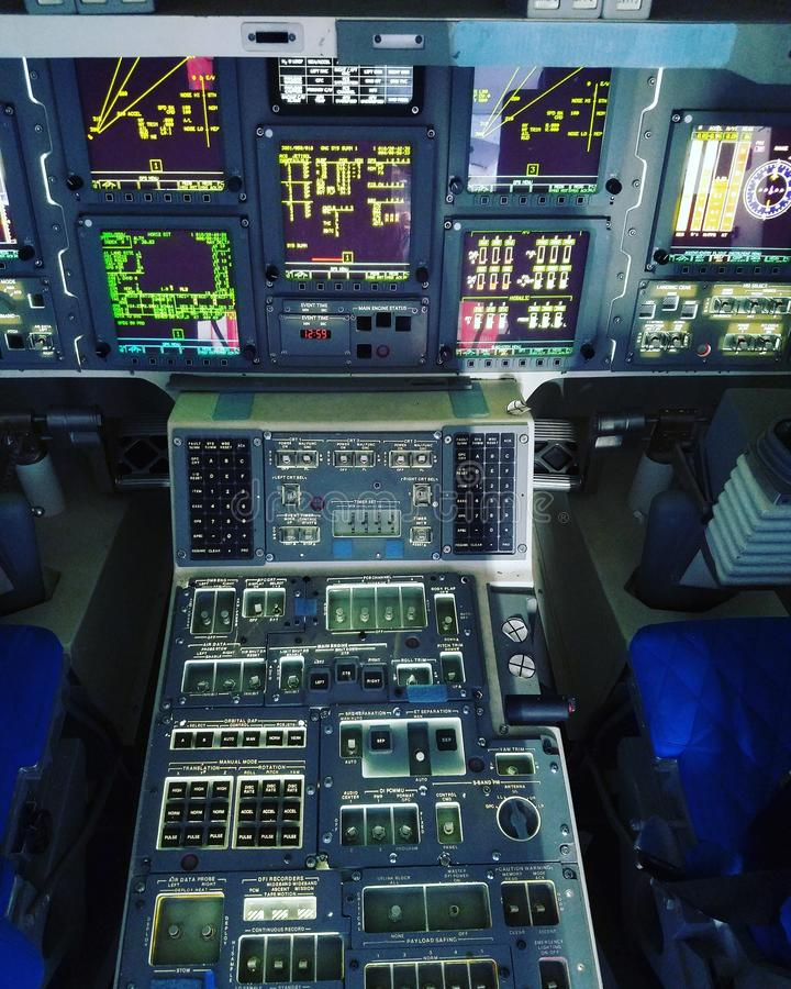 Cockpit of the Space Shuttle Independence stock photo