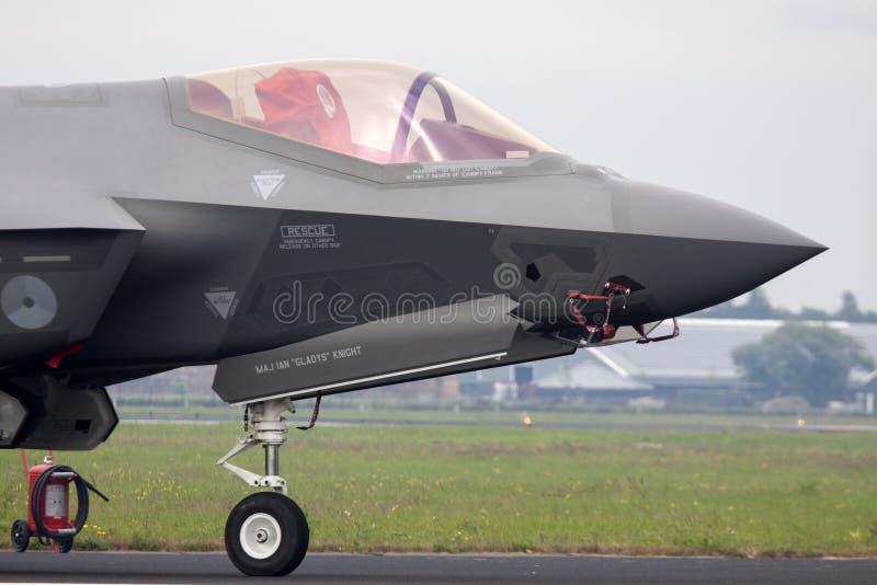 Cockpit van een F35 straal van de bommenwerpersvechter stock foto's
