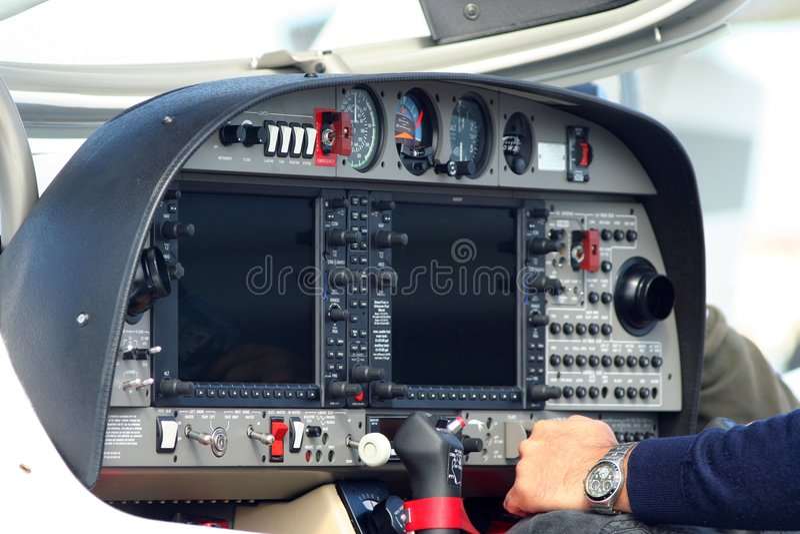 Cockpit van vliegtuig stock foto's