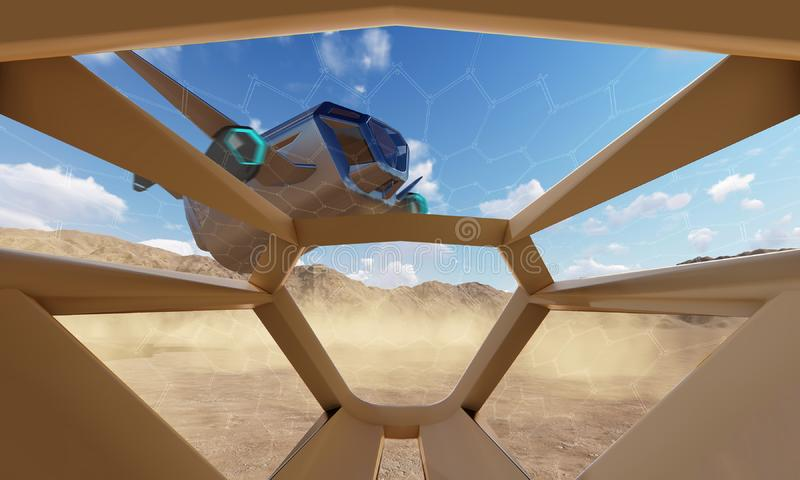 Cockpit view, landing of spaceship. 3D rendering vector illustration