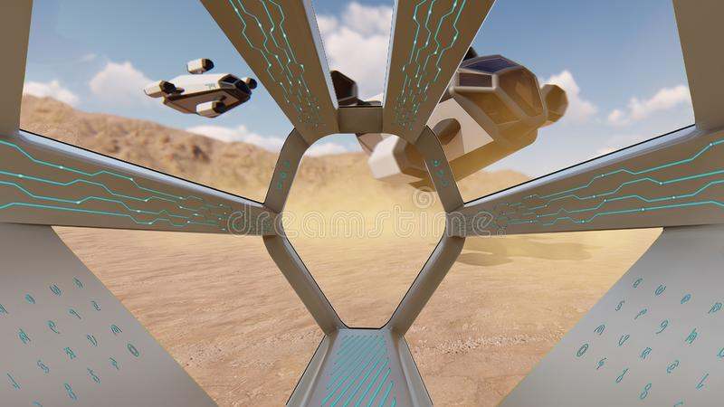 Cockpit view, landing of spaceship. 3D rendering stock illustration