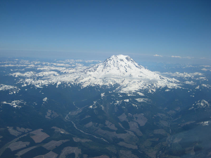 Cockpitfoto av Mount Rainier royaltyfri bild
