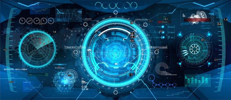 Cockpithelm, Futuristisch Head-up de Vertoningsontwerp van VR royalty-vrije illustratie