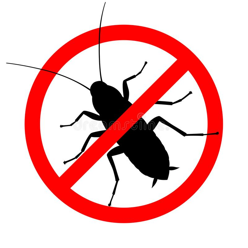 Cockroach in the prohibition sign. Warning sign no cockroach. Symbol for informational and institutional sanitation and related care. Vector illustration vector illustration