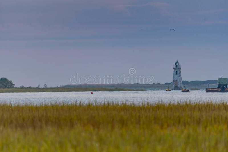 Cockspur Island Lighthouse Near Tybee Island. Marshes royalty free stock image