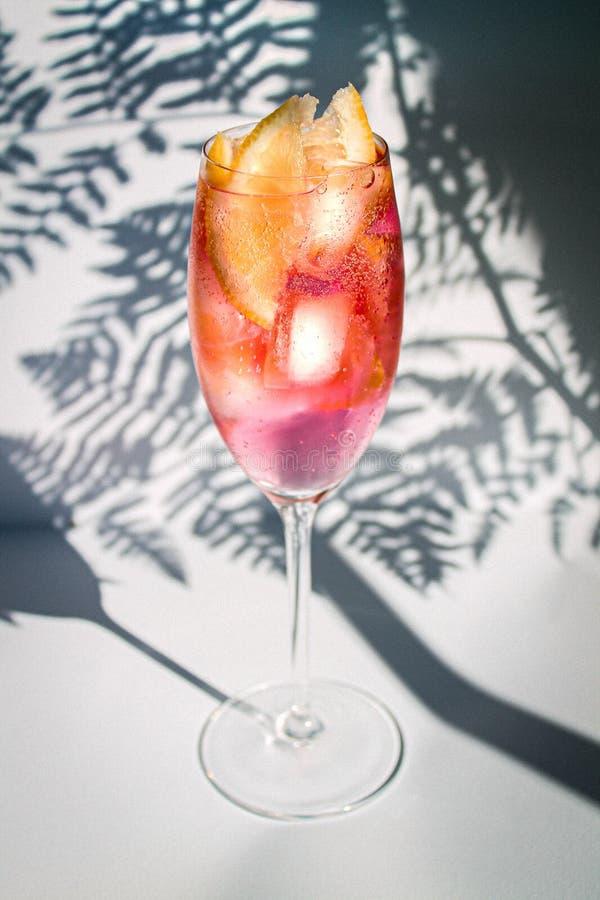 Cocktai d'été avec le citron et la glace photo stock