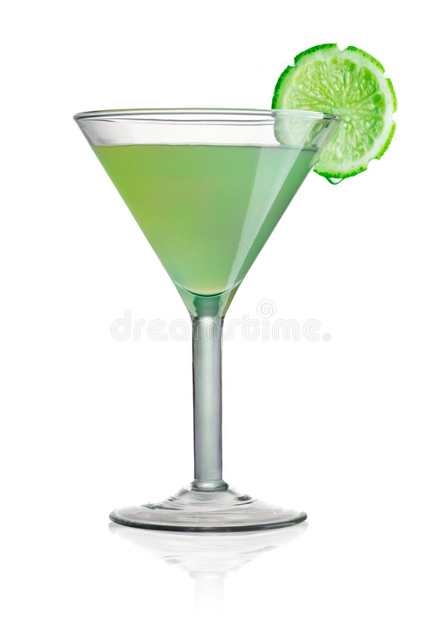 Cocktail. With lime on white background royalty free stock images