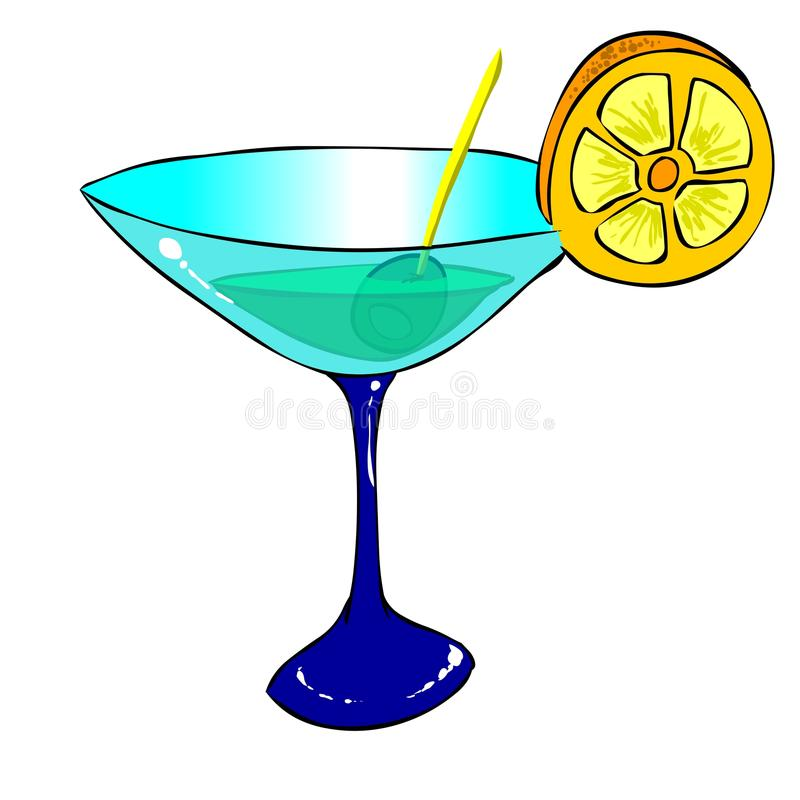 Cocktail. Cartoon style drawing of a fresh cocktail with a slice of orange and a olive. High resolution image (huge 8000 x 8000 pixels) ldeal for flyers, bars vector illustration