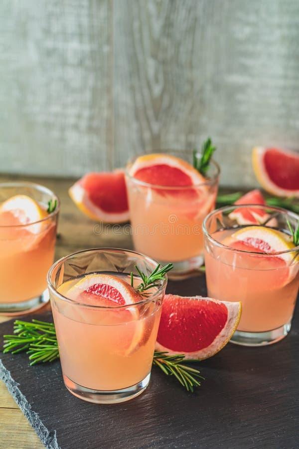 Cocktail alcoólico cor-de-rosa com toranja, gelo e alecrins foto de stock