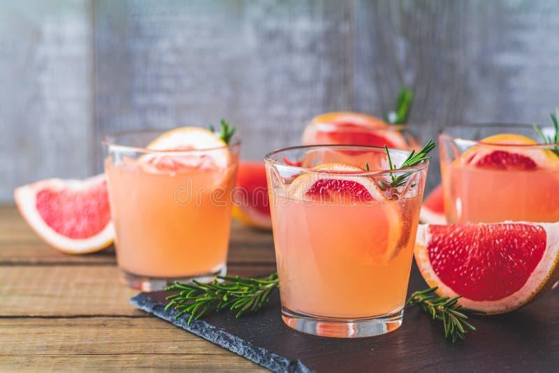Cocktail alcoólico cor-de-rosa com toranja, gelo e alecrins foto de stock royalty free