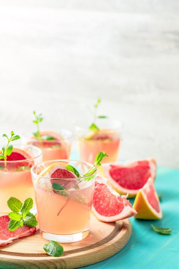 Cocktail alcoólico cor-de-rosa com toranja, gelo e hortelã imagens de stock