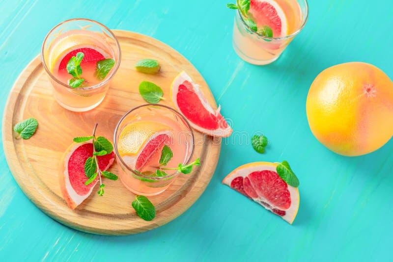 Cocktail alcoólico cor-de-rosa com toranja, gelo e hortelã imagens de stock royalty free