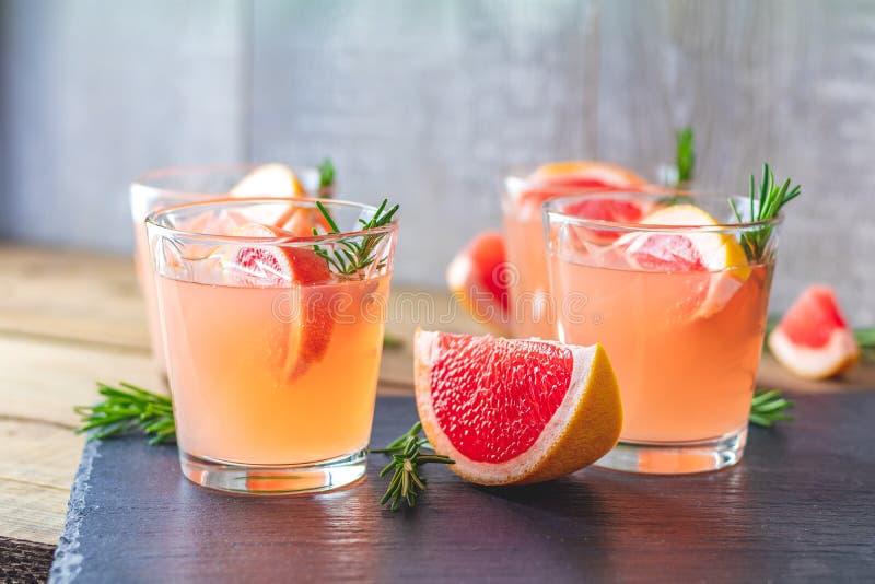 Cocktail alcoólico cor-de-rosa fresco com toranja, gelo e alecrins foto de stock royalty free