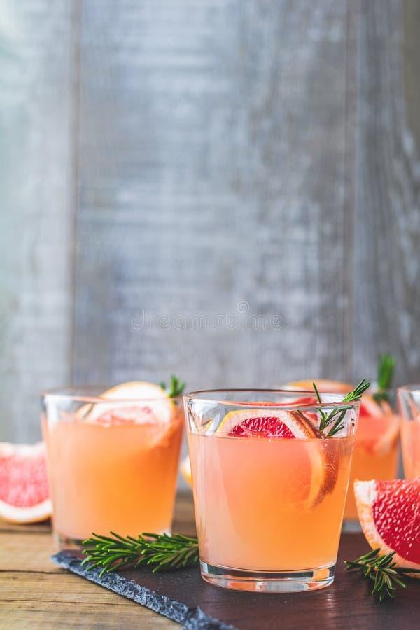 Cocktail alcoólico cor-de-rosa fresco com toranja, gelo e alecrins fotografia de stock royalty free