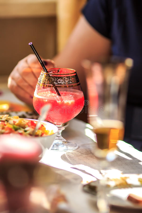 Cocktail. Alcoholic cocktail on the party table stock image