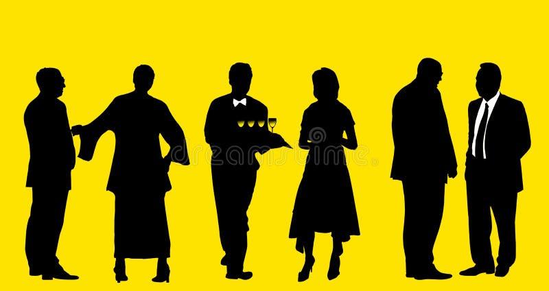 Cocktail auf der Party - alle Leute mit Ausschnittspfad stock abbildung