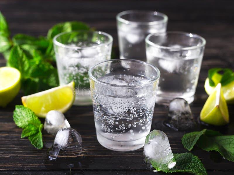 Cocktail avec l'eau de seltz, la glace, la chaux et la menthe images libres de droits