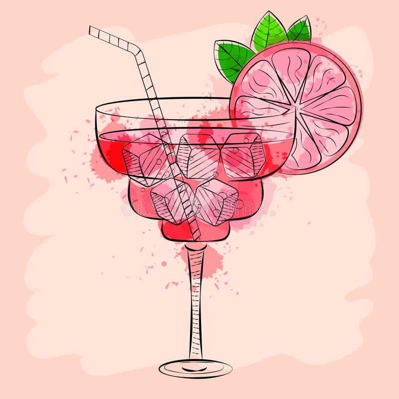 Cocktail avec l'illustration tirée par la main de vecteur de pamplemousse rose illustration de vecteur