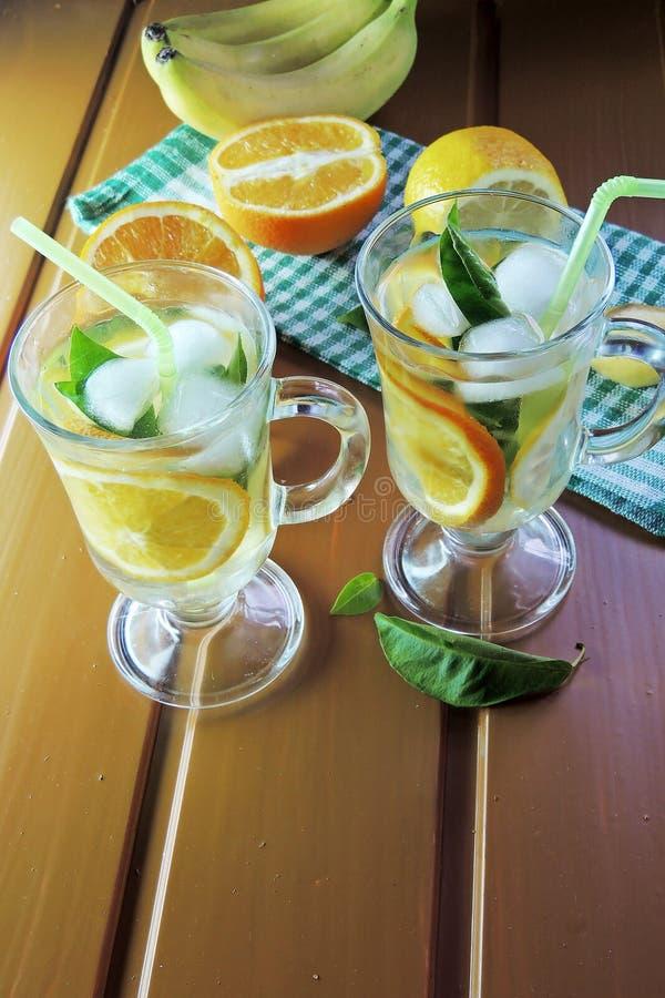 Cocktail avec le fruit et la glace image libre de droits