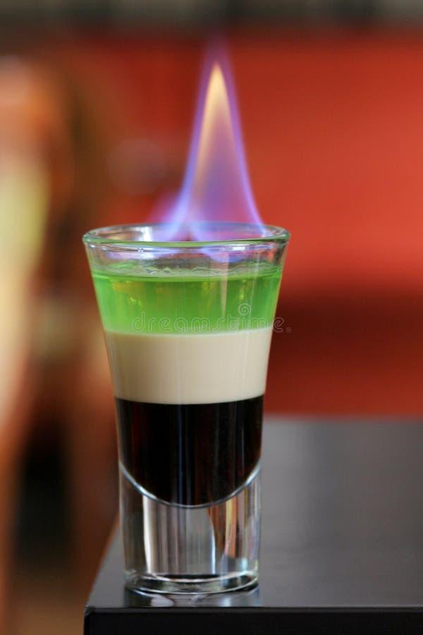 Cocktail B 52, sterke alcoholische drie-kleur stock afbeelding