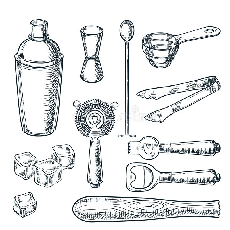 Cocktail bar tools and equipment sketch illustration. Hand drawn icons and design elements for bartender work stock illustration