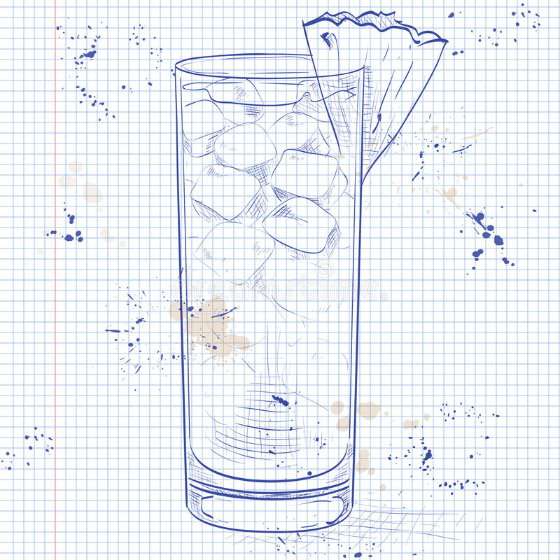 Cocktail Barracuda on a notebook page. Hard drink cocktail Barracuda with gold rum, Galliano, pineapple juice, lemon and dry wine on a notebook page vector illustration