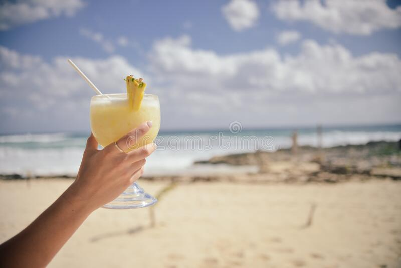 Cocktail on beach stock images