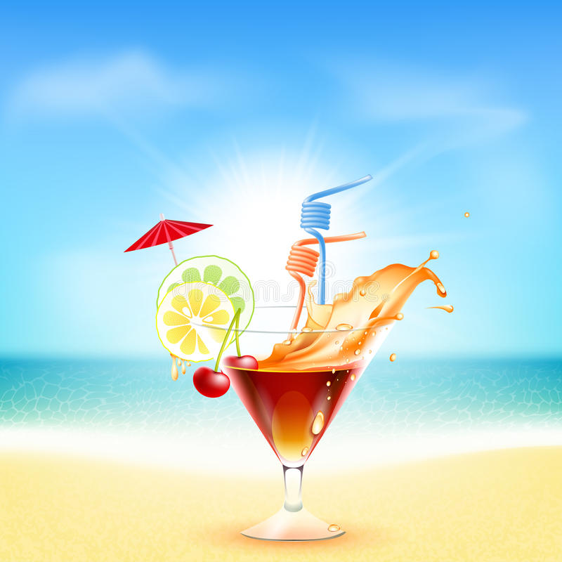 Beautiful Sunny Day At Tropical Beach Royalty Free Stock: Cocktail On Beautiful Sunny Beach Stock Illustration