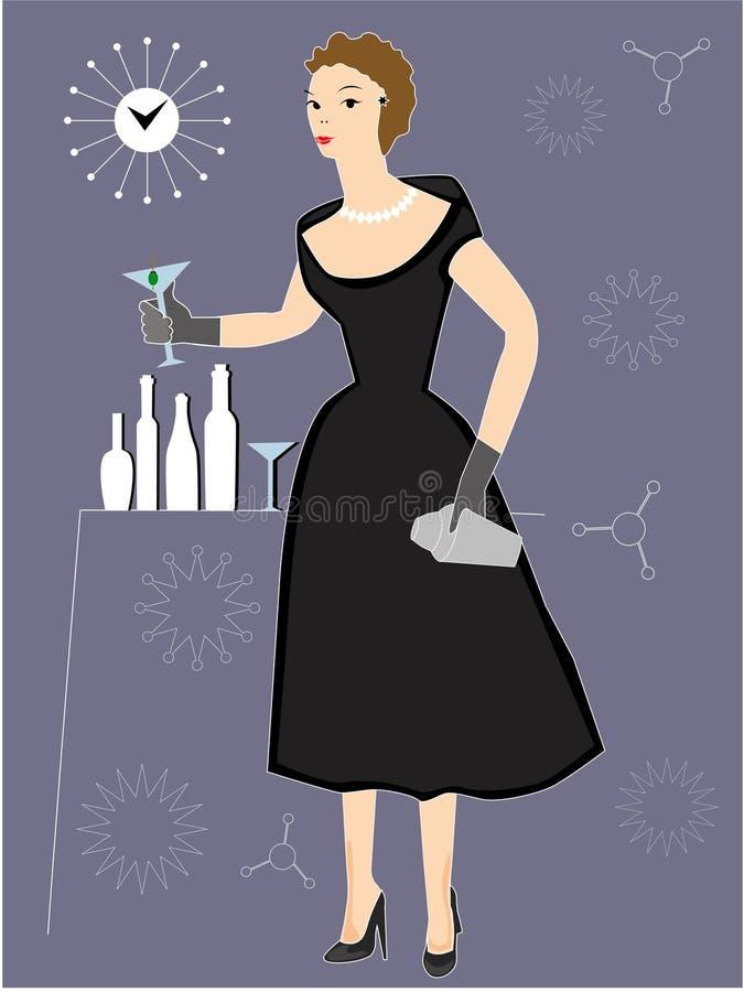 Cocktail bevente della donna al partito royalty illustrazione gratis