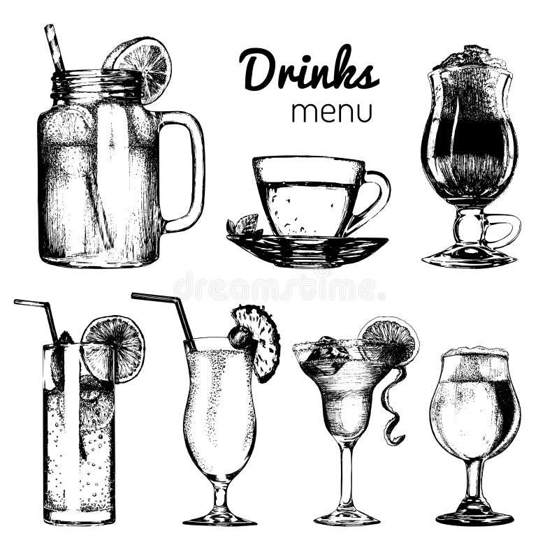 Cocktail, bibite e vetri per la barra, ristorante, menu del caffè Illustrazioni differenti disegnate a mano di vettore delle beva illustrazione di stock