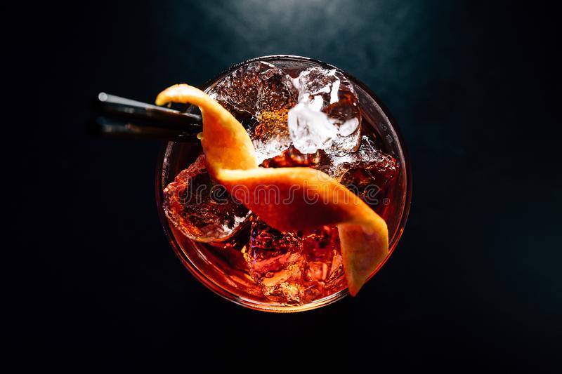 Cocktail on a black background royalty free stock photography