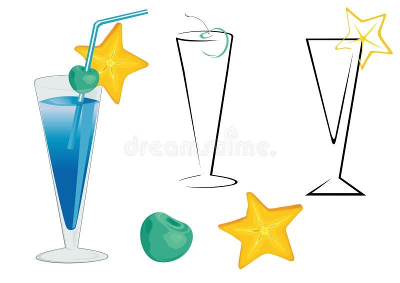 Cocktail bleu illustration de vecteur