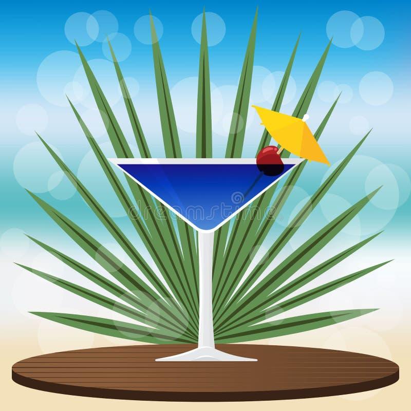 Cocktail bleu de lagune sur le plateau classique en bois illustration libre de droits