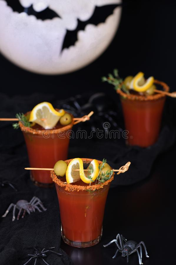 Cocktail  Bloody Mary for a Halloween party. Michelada - Mexican alcoholic cocktail, tomato juice, spicy sauce and spices. Great idea for a Halloween party stock image