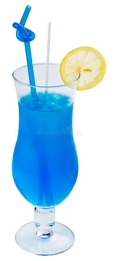 Cocktail blu dell'alcool della laguna con il limone fotografia stock