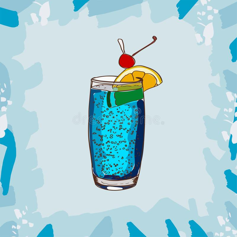 Blue Lagoon classic cocktail illustration. Alcoholic bar drink hand drawn vector. Pop art. Cocktail Blue Lagoon bar alcoholic cocktail. Set of drawings of stock illustration