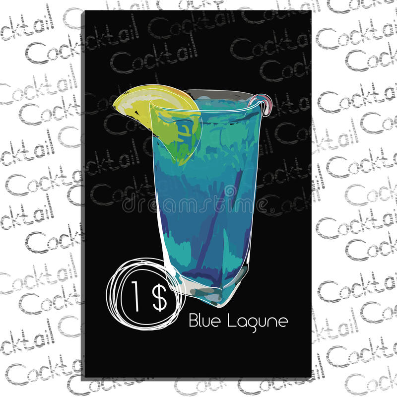 Cocktail Blue Lagune with price on chalk board. Template element for cocktail menu. royalty free stock image