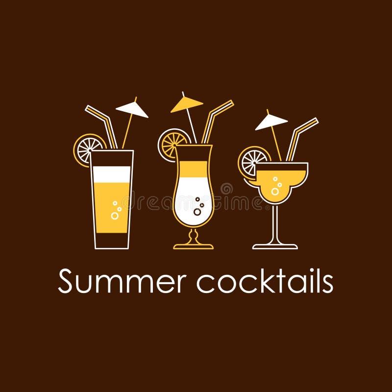 Cocktail, boissons d'alcool illustration stock