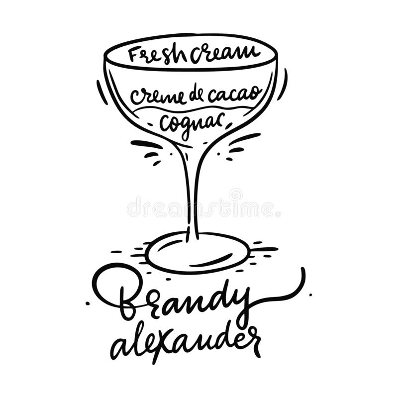 Cocktail Brandy Alexander and its ingredients in vintage style. Hand draw vector illustration vector illustration