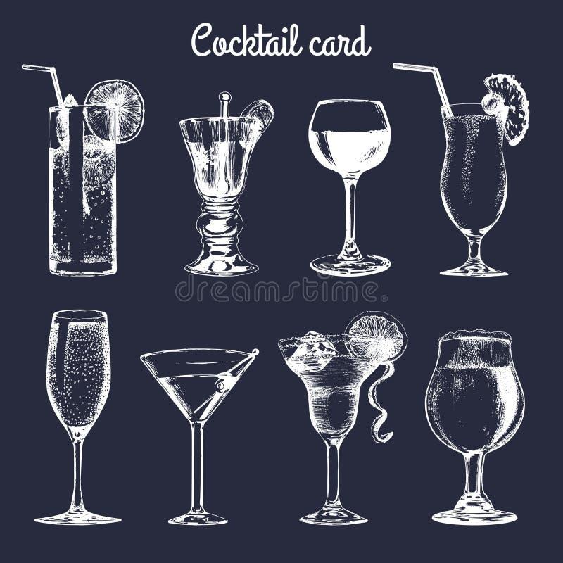 Cocktail card. Hand sketched alcoholic beverages glasses. Vector set of drinks illustrations, vodkatini, champagne etc. Cocktail card. Hand sketched alcoholic royalty free illustration