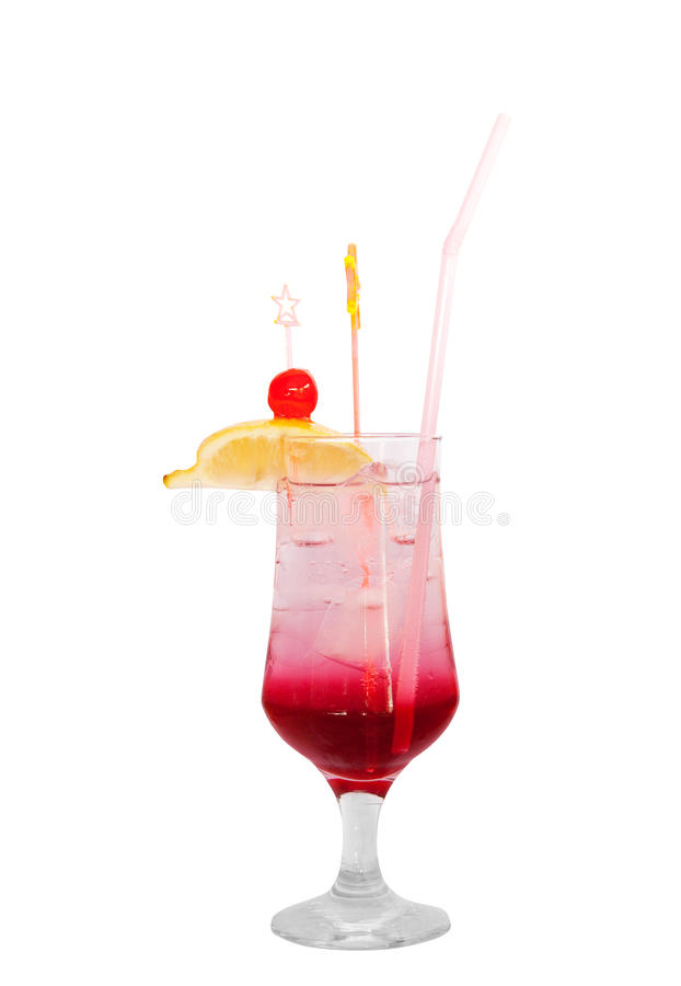Cocktail with cherry isolated stock images