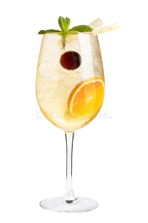 Cocktail with citrus and maraschino cherry for decoration on a white background stock images
