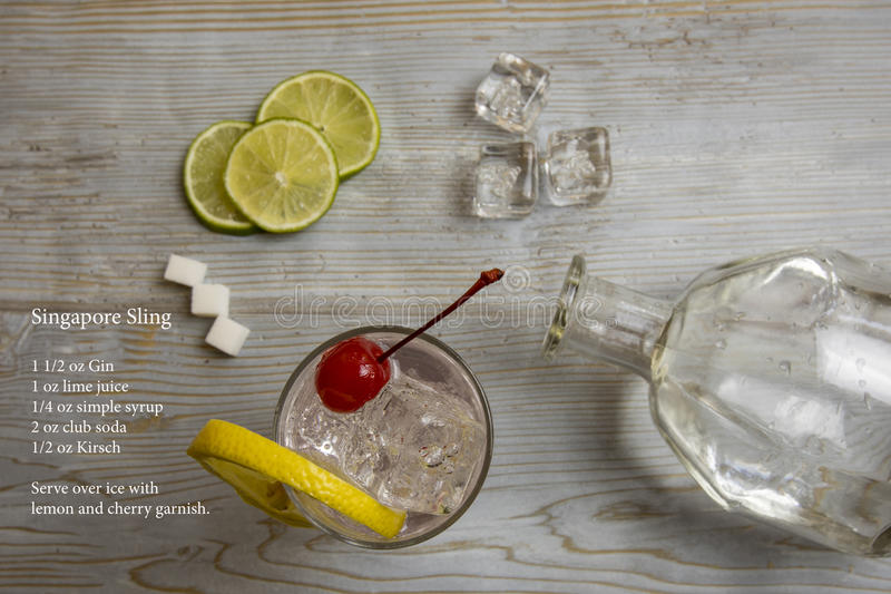 Cocktail classico dell'imbracatura di Singapore decomposto e ricetta fotografia stock