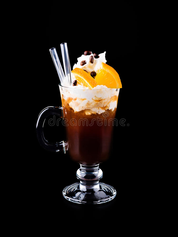 Cocktail with Coffee and whipped cream stock photography