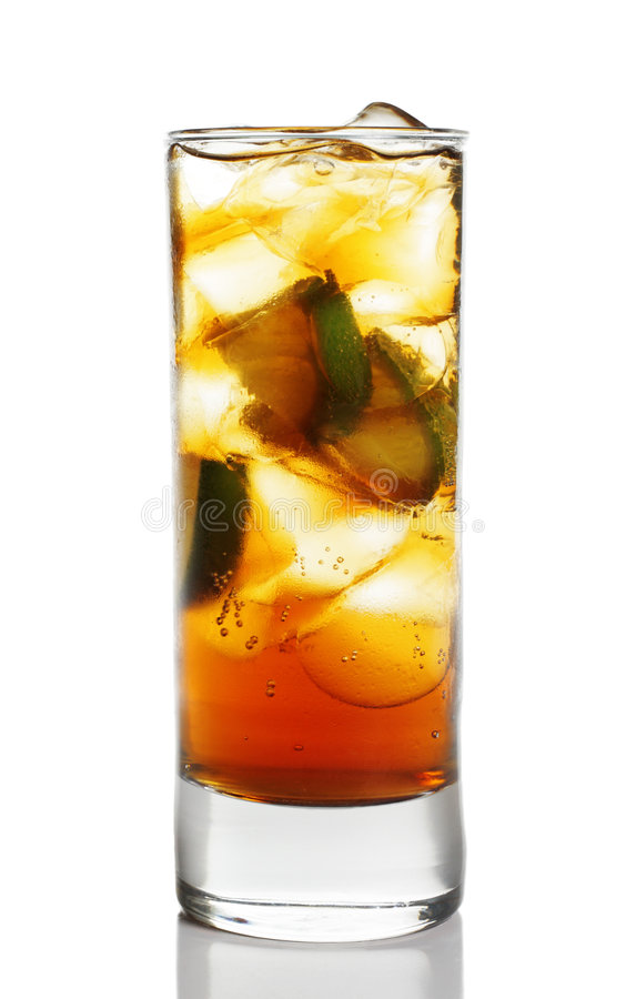 Cocktail - Cognac with Lime. In Highball Glass with Ice Cubes. Isolated on White Background stock photo