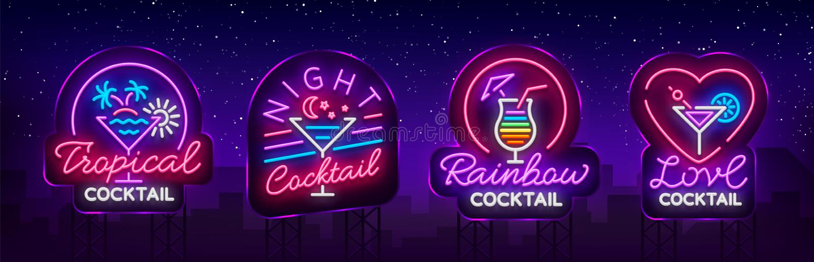 Cocktail collection logos in neon style. Collection of neon signs, Design template on the theme of drinks, alcoholic royalty free illustration
