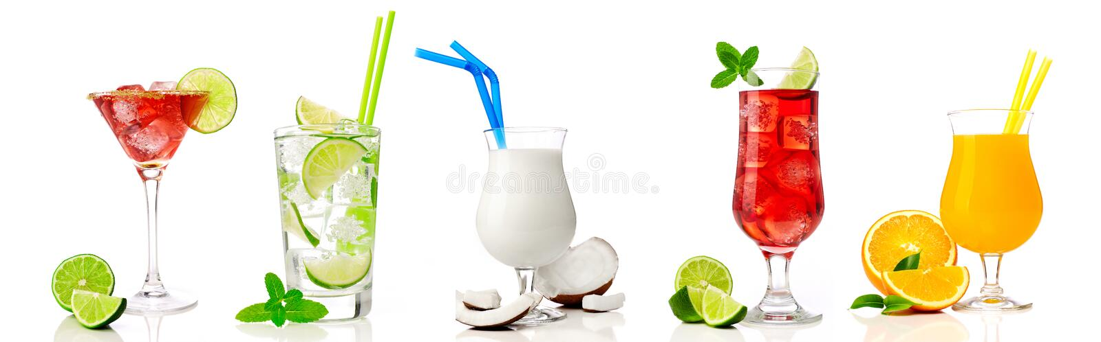 Cocktail collection on white royalty free stock photography